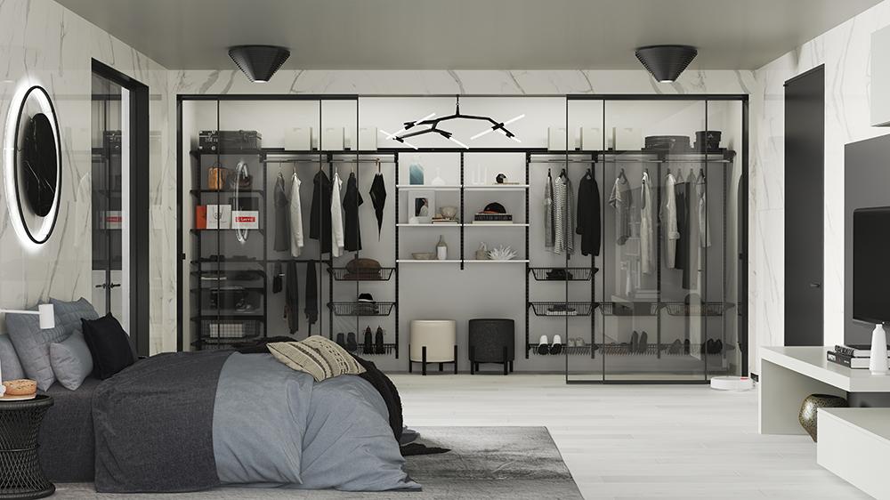 Чёрная гардеробная в спальне
