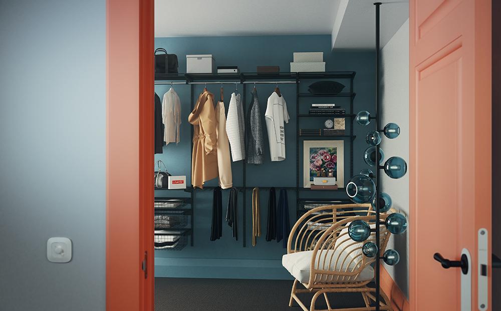 Чёрная гардеробная в комнате
