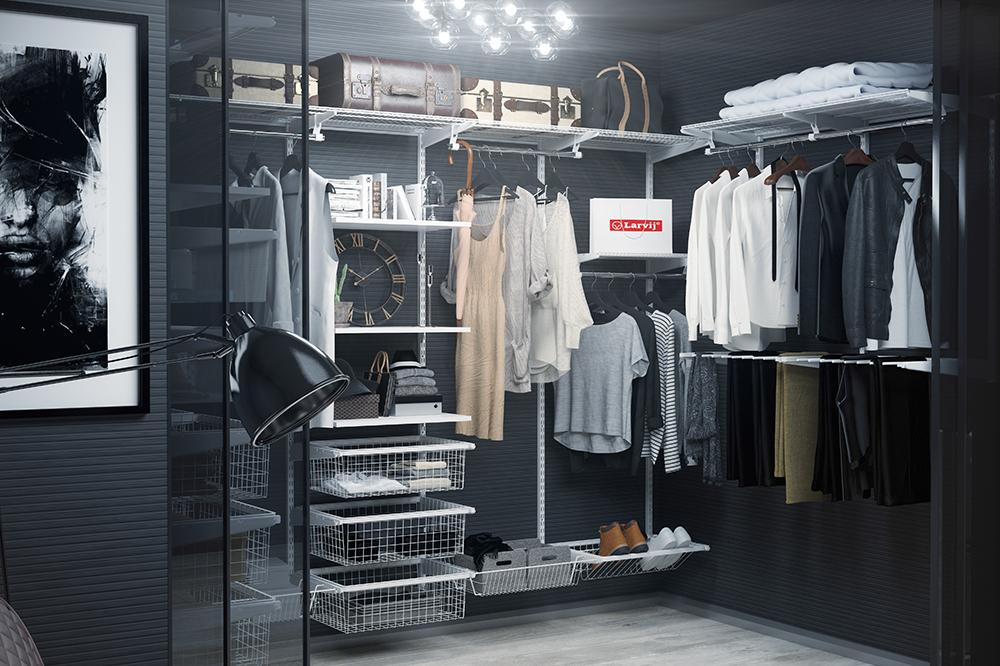 Открытая гардеробная в отдельном помещении