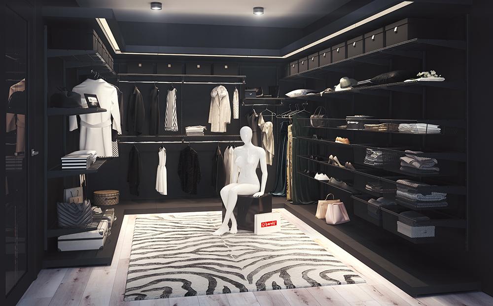 Отдельная гардеробная чёрного цвета